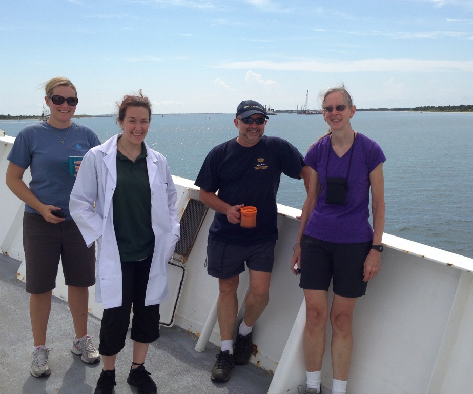 Crew leaving Morehead City, NC. From the left: Sarah Fawcett, Amandine Sabadel, Malcolm Woodward, and Bess Ward.