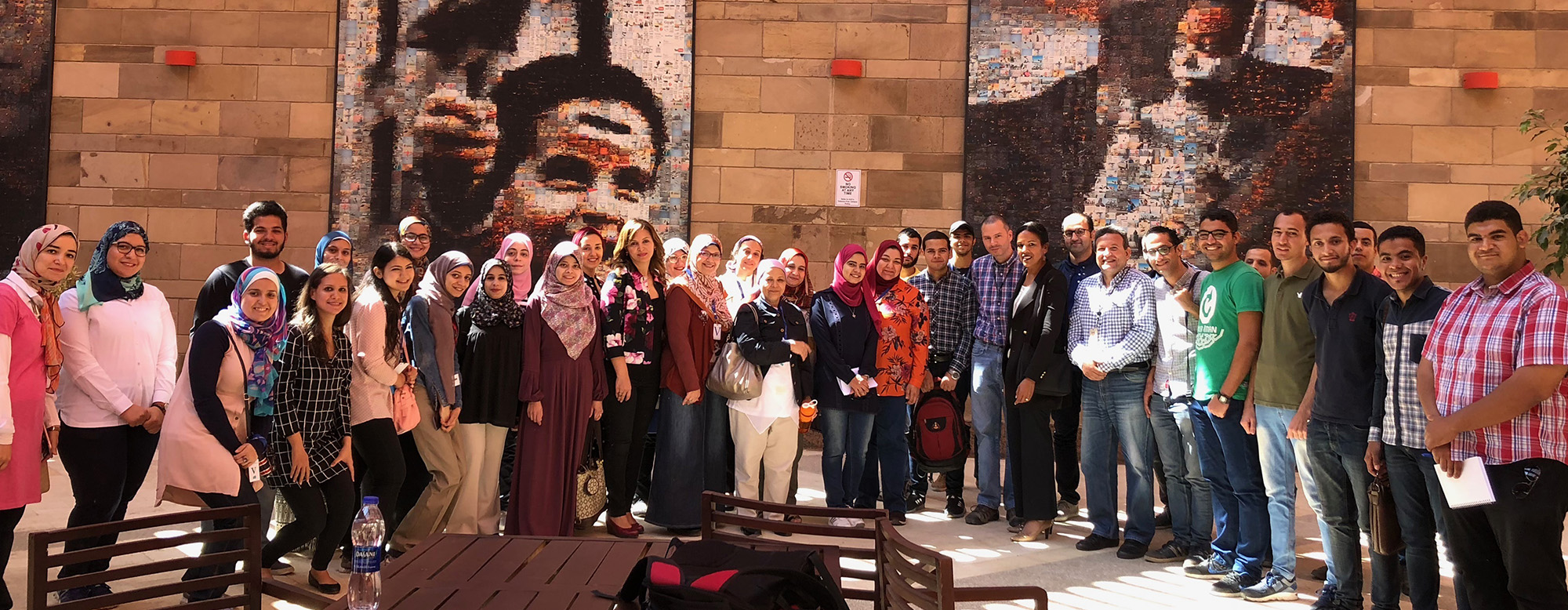 Dr. Karen Nelson and attendees of her lecture at the American University in Cairo.