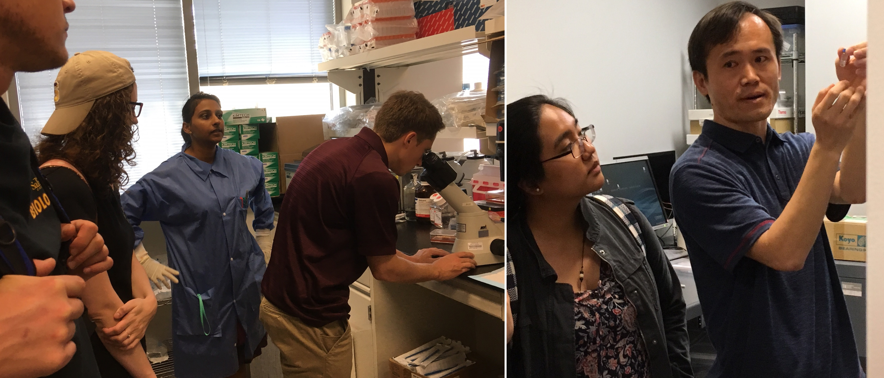 Students from Salisbury University tour JCVI's Rockville lab. Left: Dr. Chandran shows the group mammalian cell lines. Right: Dr. Yu discusses mass spectroscopy.