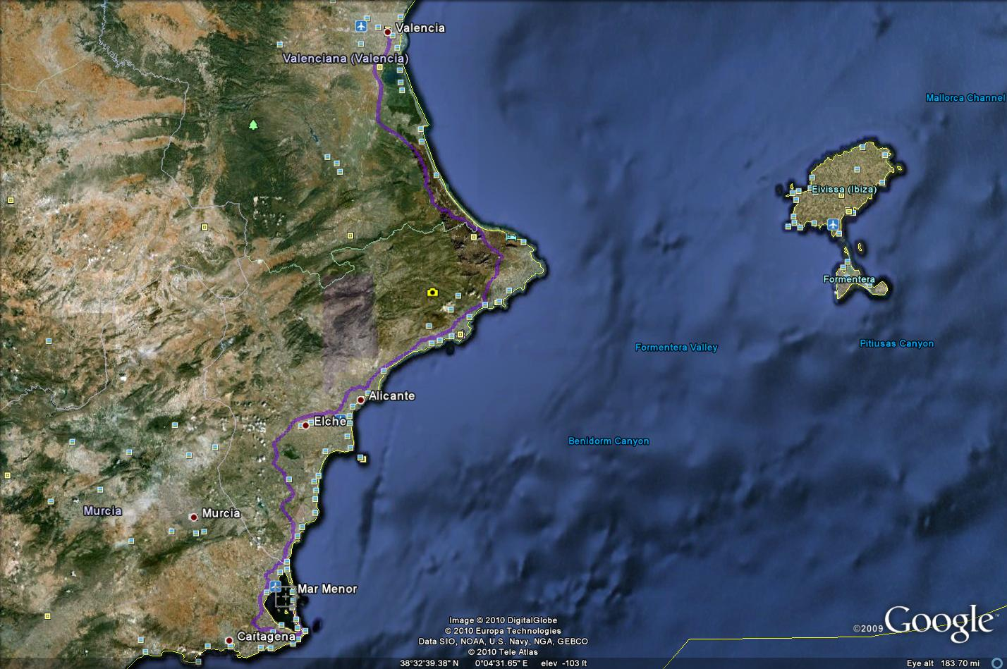 Route from Valencia to Mar Menor (To see full image of route click on picture and again when the new  window opens)