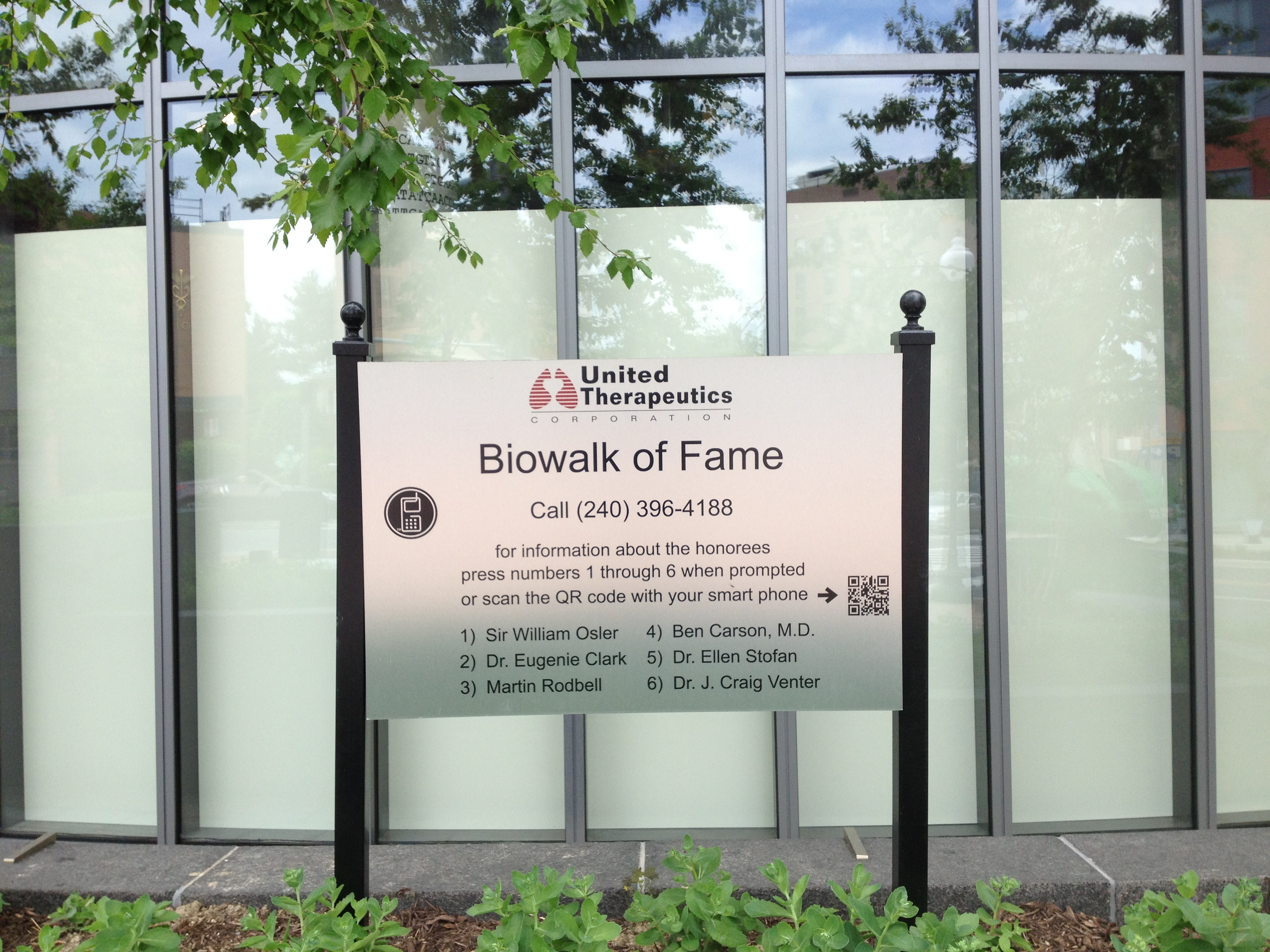 Biowalk of Fame tour sign