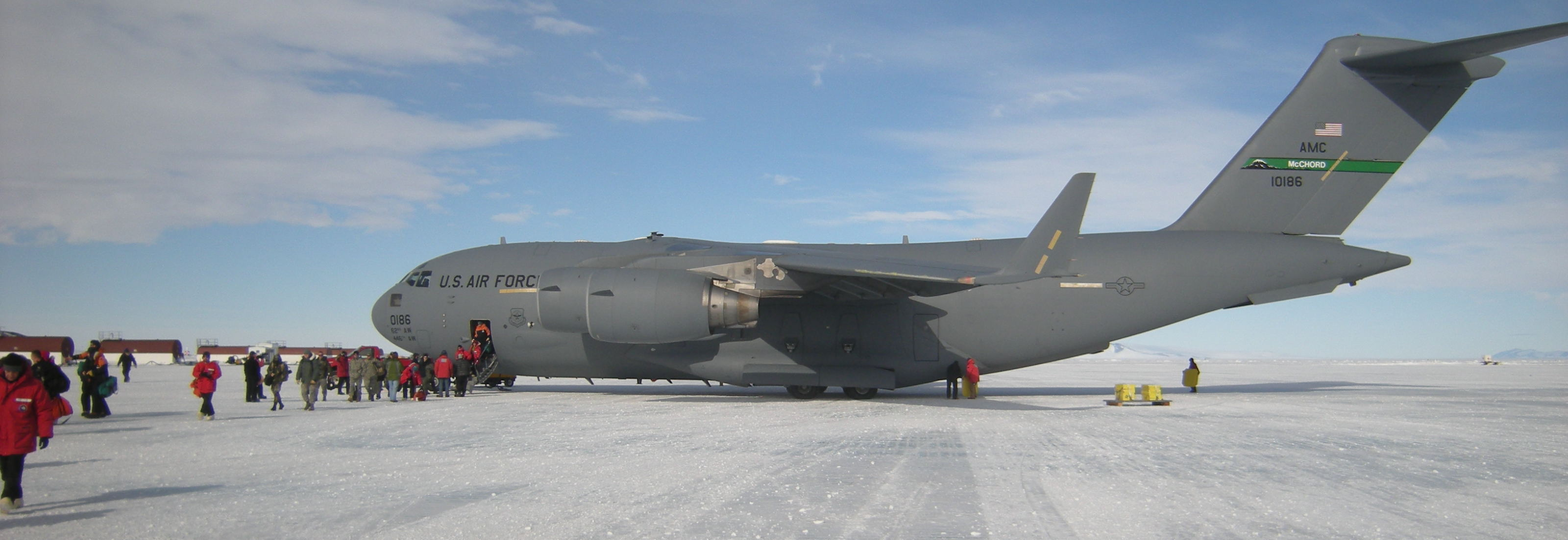C-17 on the sea-ice runway, McMurdo Station