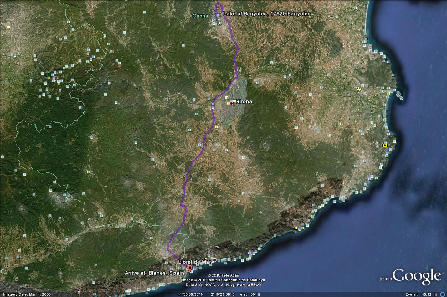 Route from Blanes to Lake Banyoles